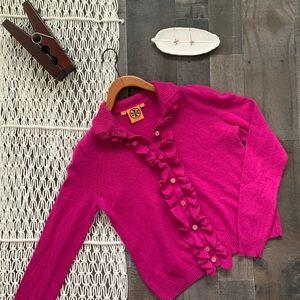Tory Burch Ruffle Front Pink Cardigan